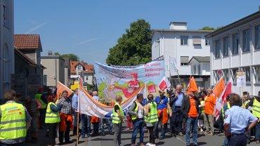 Arbeitskampf der Druckereibeschäftigten und  Journalisten in Ostwestfalen-Lippe am 10. Juni 2016.