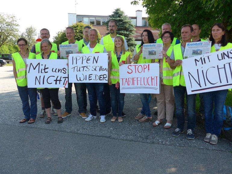 Streikende beim Kreisboten Verlag Weilheim