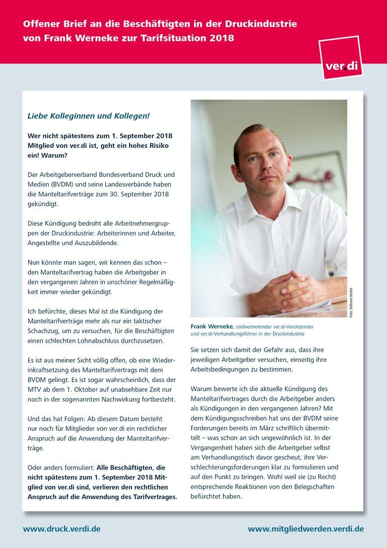 Offener Brief von Frank Werneke